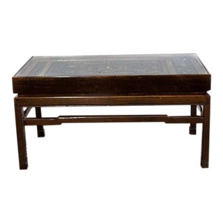 Coffee Table Made From Early Carved Chinese Panels For Sale