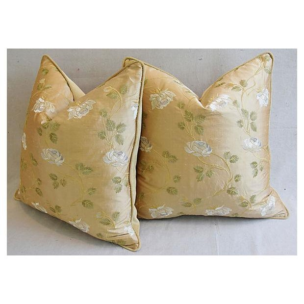 """White 24"""" Custom Tailored Embroidered White Rose Silk Feather/Down Pillows - Pair For Sale - Image 8 of 12"""