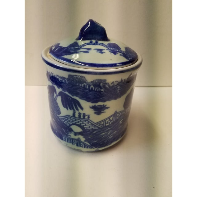 Chinese Blue Willow Ironstone Covered Jar For Sale - Image 5 of 5