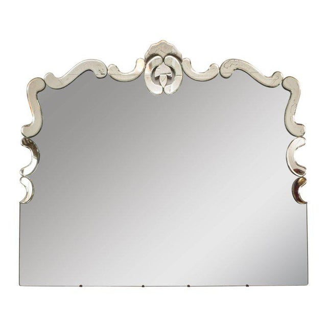 1940s Art Deco Venetian Style Mirror with Raised Scroll Form Border For Sale In New York - Image 6 of 6