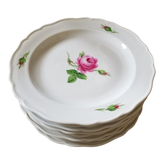 Set of 8 Meissen Rose Pattern Luncheon Plates For Sale