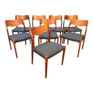 Set of Eight Vintage Mid Century Danish Modern Teak Dining Chairs Model #71 by Niels Moller For Sale