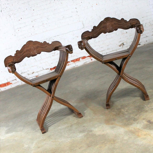 Italian Walnut Savonarola Chairs with Carved Lion Head Arms - A Pair For Sale - Image 3 of 11