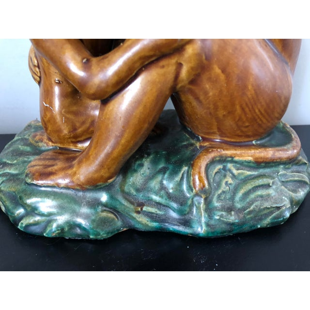 Vintage Majolica Pottery Monkey Figure - Image 4 of 7