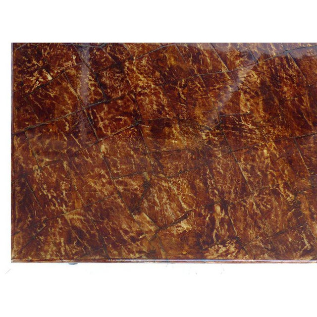 1950s Monumental Karl Springer, Signed Goatskin Coffee Table with Faux Tortoise Finish For Sale - Image 5 of 8