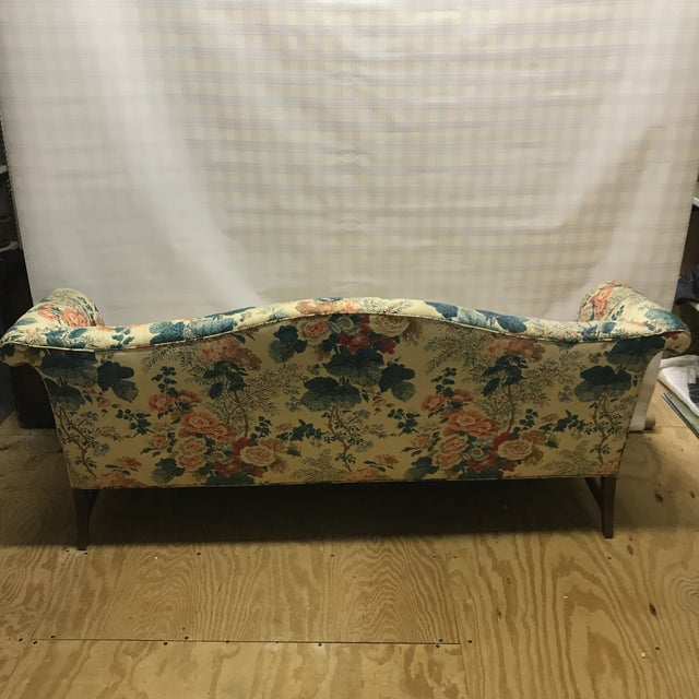 Blue Hollyhock Chintz Camelback Sofa For Sale - Image 8 of 11