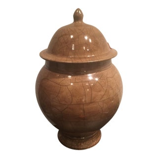 Crackle Finish Ceramic Lidded Vessel