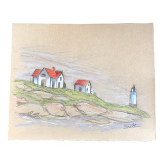 """Ram Island Lighthouse"" Original Colored Pencil Drawing by Nancy Smith For Sale"