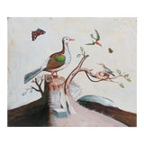 Image of 1960s Vintage Bird on Tree Stump Painting For Sale