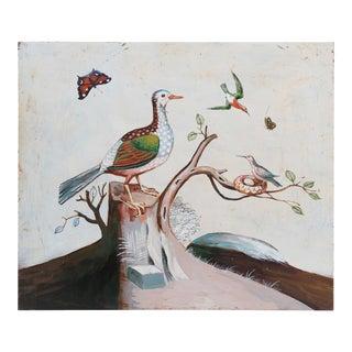 1960s Vintage Bird on Tree Stump Painting For Sale