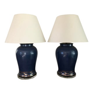 Pair of Scalamandre Maison by Port 68 Lamps - Blue For Sale