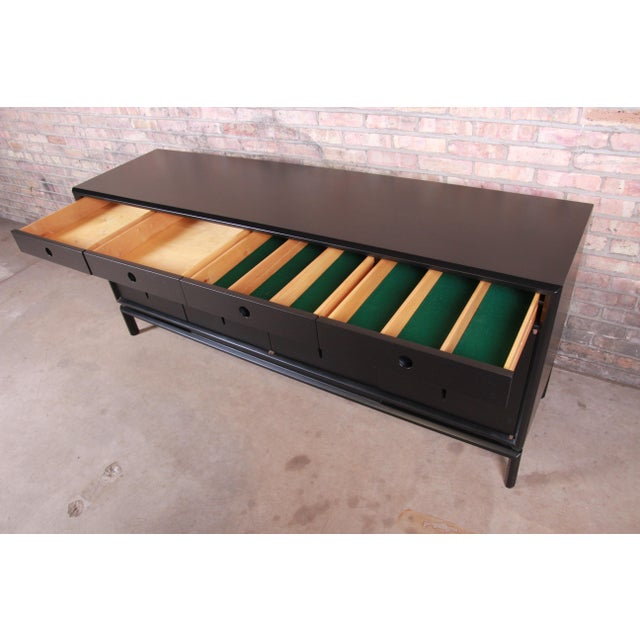 Edmond Spence Swedish Modern Ebonized Sideboard Credenza, Newly Refinished For Sale In South Bend - Image 6 of 13