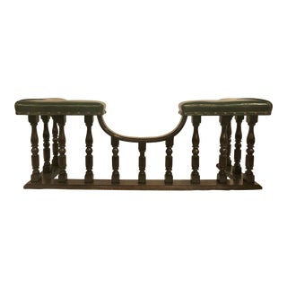Antique English Country Oak and Leather Fireside Bench, Circa 1890. For Sale