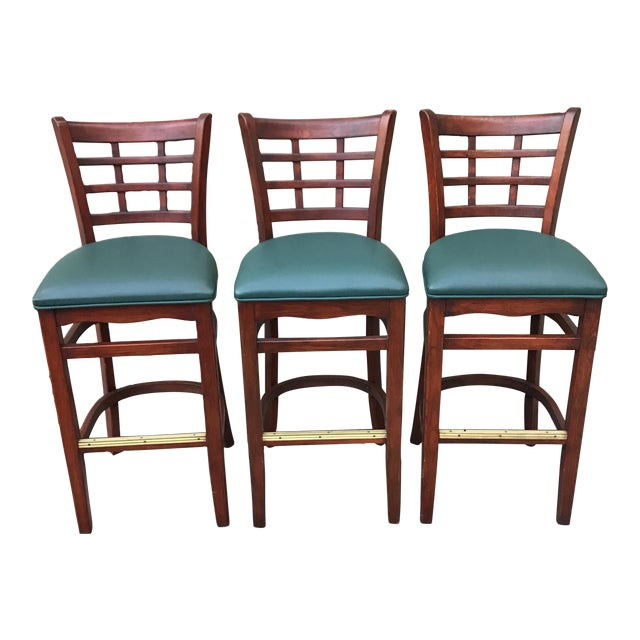 Mahogany Upholstered Barstools - Set of 3 - Image 1 of 3