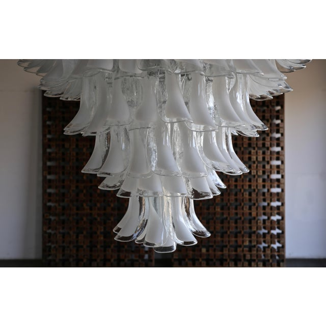 "Mazzega Large Scale Murano "" Selle "" Glass Chandelier Circa 1988 For Sale - Image 9 of 13"