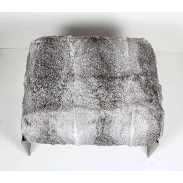 Contemporary Luxury Accent Stool or Ottoman in Lapin Fur and Black Chrome For Sale - Image 3 of 10