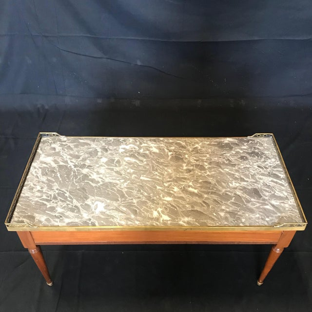 1920's French Louis XVI Style Walnut and Marble Coffee Table For Sale - Image 9 of 11