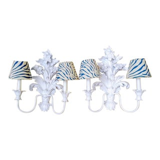 White Tole Wall Floral Palm Beach Regency Blue Zebra Shades Sconces - a Pair