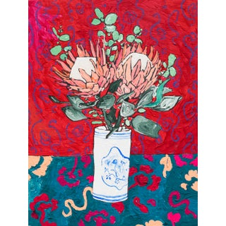 Protea Bouquet in Delft Bird Tumbler on Red Floral Still Life Painting For Sale