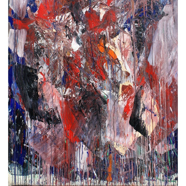 Monumental Abstract Oil on Canvas Signed Dehais For Sale In Miami - Image 6 of 10