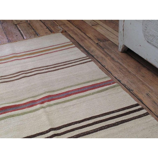 Traditional Banded Kilim Wide Runner For Sale - Image 3 of 6