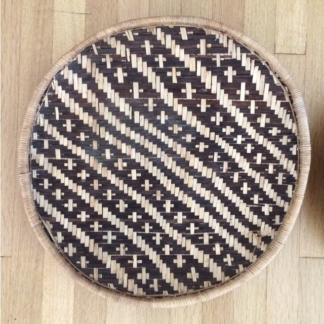Woven Ethnic Baskets - A Pair - Image 3 of 5