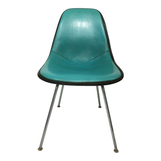Vintage Molded Side Chair in Turquoise Naugahyde by Charles Eames for Herman Miller For Sale