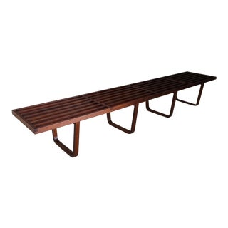 Rare Mid Century Bench in 50's Mahogany Wood For Sale