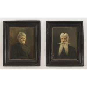 Traditional Pair of ebonized framed oil painting portraits of lady with hair up and man with long beard For Sale - Image 3 of 3
