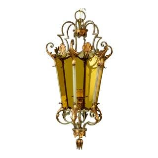Italian Six Panel Gilt and Amber Glass Hall Lantern C.1920 For Sale