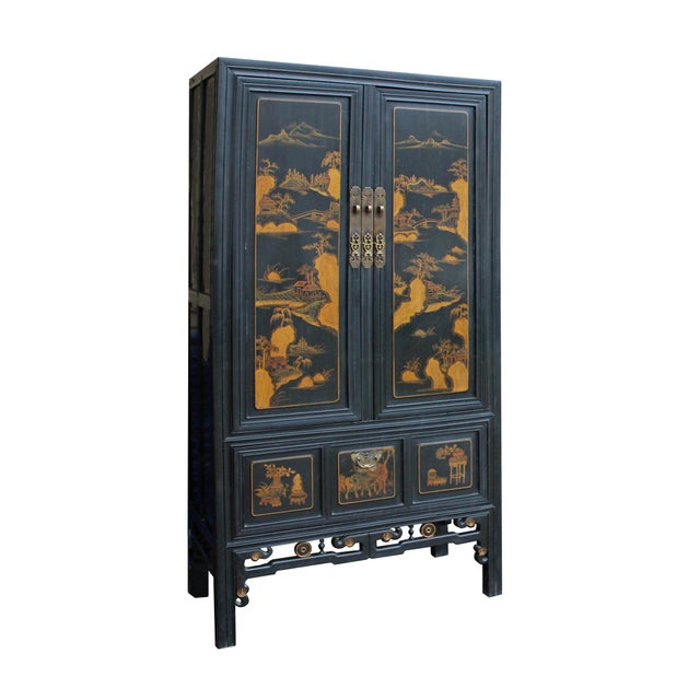 Chinese Fujian Golden Mountian Water Graphic Tall Armoire Cabinet For Sale In San Francisco - Image 6 of 10