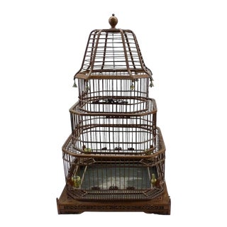 1900s Antique Chinese Bamboo Bird Cage For Sale