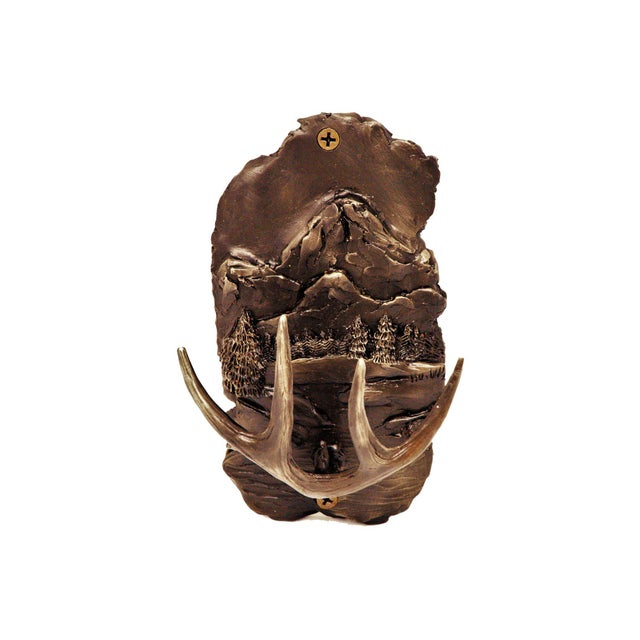 Black Forest Mountain Scene Hook with Traditional Patina For Sale - Image 3 of 3