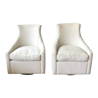 Contemporary Andrew Martin Swivel Chairs With Down Cushions - a Pair