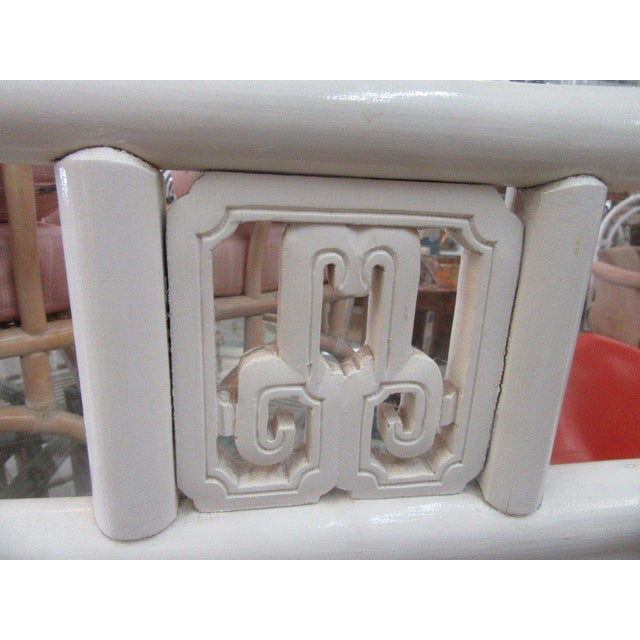 Vintage White Rattan Mirror - Image 3 of 5