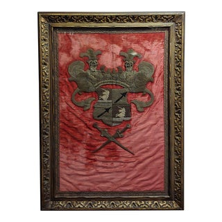 17th Century Antique Elizabethan Coat of Arms/Family Crest Framed Tapestry For Sale