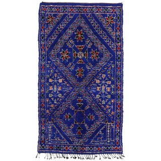 Vintage Berber Moroccan Blue Indigo Beni Mguild Rug - 6′10″ × 12′1″