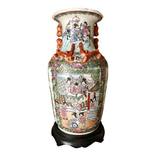 Late 19th Century Large Famille Rose Medallion Vase For Sale