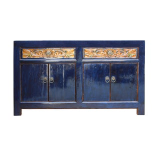 Chinese Distressed Indigo Blue Carving Sideboard Buffet Table Cabinet For Sale