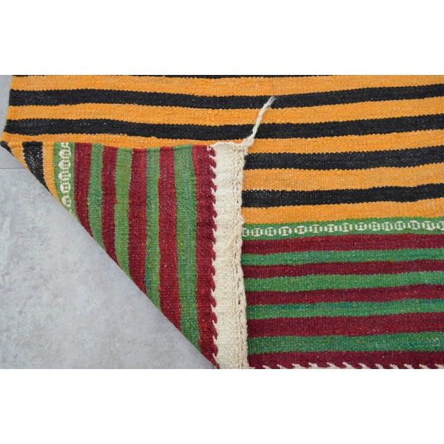 Hand-Woven Kilim Rug Striped Area Rug - 5′11″ X 9′8″ - Image 8 of 8