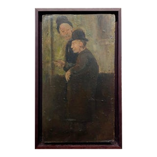 Fritz Feigler - Two Old Friends in Derby & Top Hats - Oil Painting For Sale