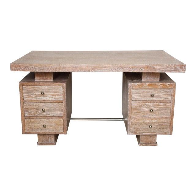 French Cerused Oak Desk For Sale