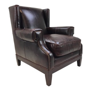 Transitional Hooker Burgundy Leather Club Chair For Sale