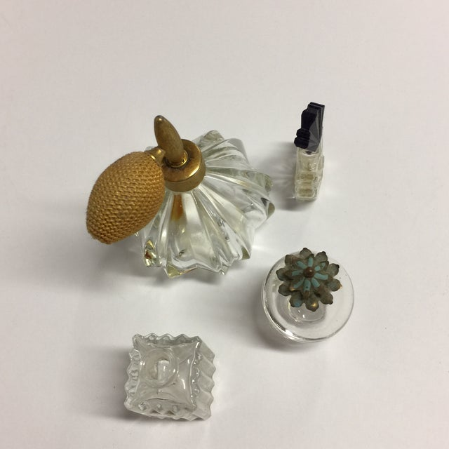 A charming set of smalls for your dresser or powder room. Antique glass atomizer with brass top. Vintage square glass...