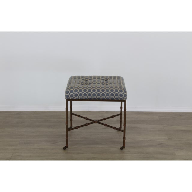 Pair of Mid-Century Metal Benches With Blue Cushions Tops For Sale - Image 4 of 8