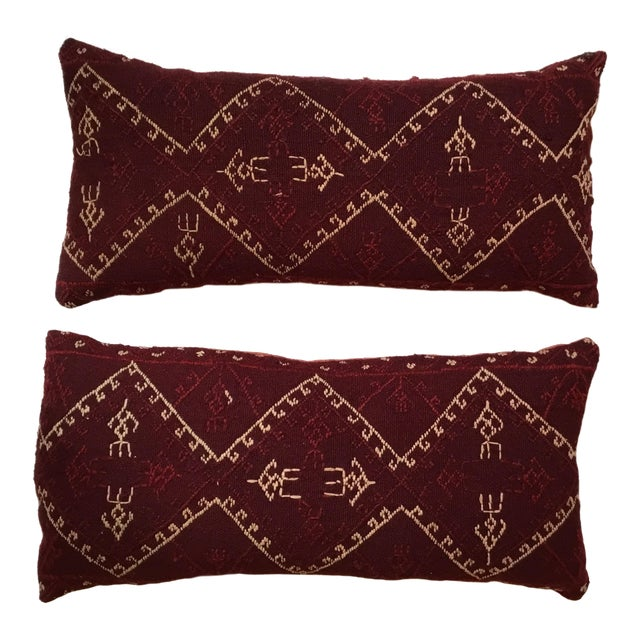 Hand Embroidery Textile Pillows - A Pair For Sale