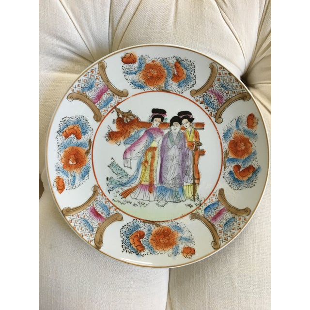 """Asian Decorative Chinoiserie Gold Rimmed """"Three Ladies"""" Plate For Sale - Image 3 of 10"""
