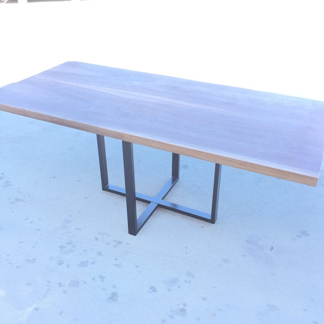 Contemporary Hardwood Table & Cube Base - Image 3 of 6