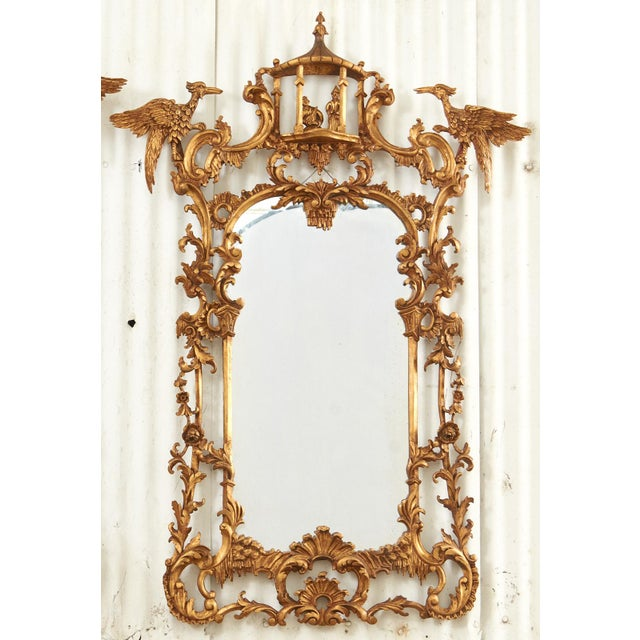 Pair of Chinese Chippendale Style Pagoda Mirrors With Ho Ho Birds For Sale - Image 4 of 13