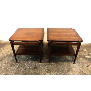 Mid-Century Modern Bassett Danish Inspired Walnut Side Tables- A Pair Preview